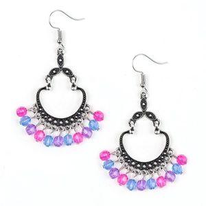Pink Purple Blue Silver Studded Dangle Earrings